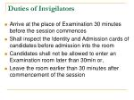 duties of invigilators