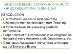 modified regulations on conduct of examinations march 2011