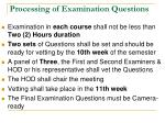 processing of examination questions
