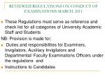reviewed regulations on conduct of examinations march 2011