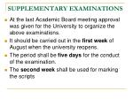 supplementary examinations