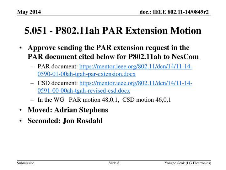 Approve sending the PAR extension request in the PAR document cited below for P802.11ah to NesCom