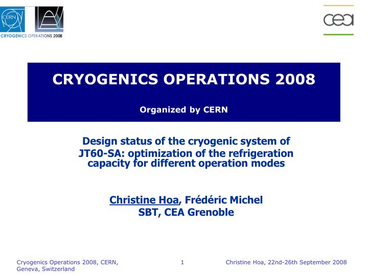 cryogenics operations 2008 organized by cern n.