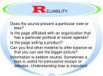 r eliability