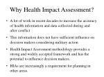 why health impact assessment