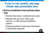 if you re not careful you may violate data protection laws
