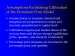 assumptions facilitating calibration of the dominant firm model