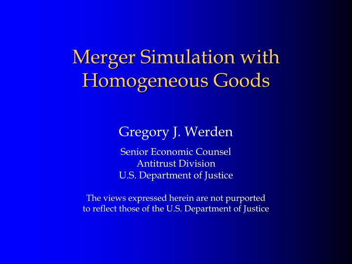 merger simulation with homogeneous goods n.