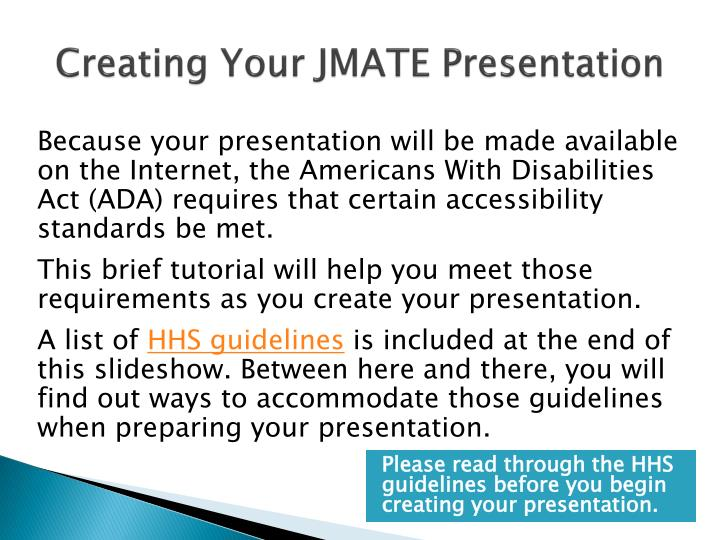 creating your jmate presentation n.