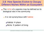 2 8 how species evolve to occupy different niches within an ecosystem