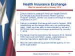 health insurance exchange must be operational by january 2014