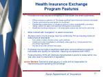 health insurance exchange program features