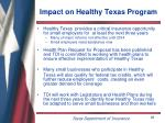impact on healthy texas program
