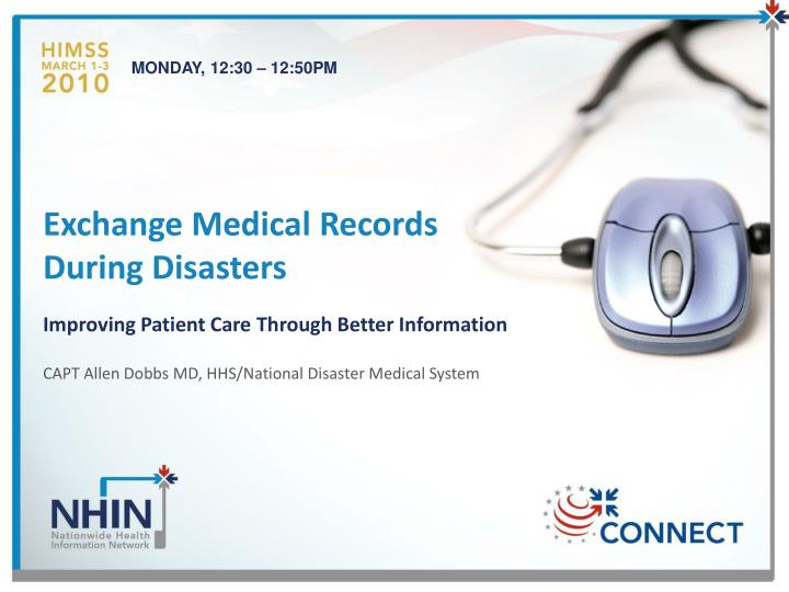 exchange medical records during disasters n.