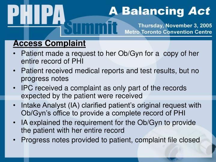 Access Complaint