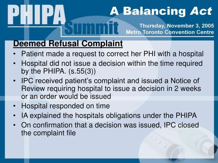Deemed Refusal Complaint