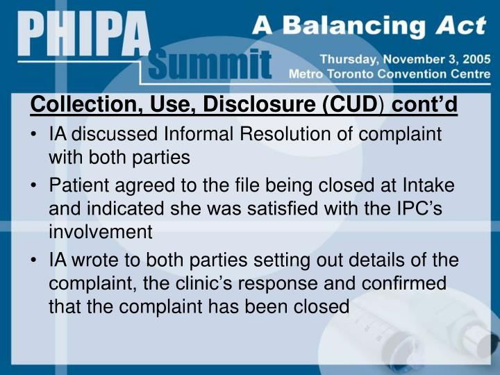 Collection, Use, Disclosure (CUD