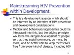 mainstreaming hiv prevention within development