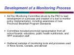 development of a monitoring process