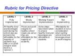 rubric for pricing directive