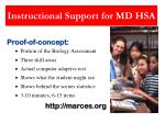instructional support for md hsa3