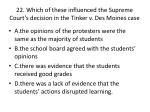 22 which of these influenced the supreme court s decision in the tinker v des moines case