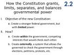 h ow the constitution grants limits separates and balances governmental power1