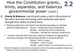 how the constitution grants limits separates and balances governmental power cont