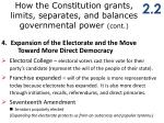how the constitution grants limits separates and balances governmental power cont2