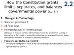 how the constitution grants limits separates and balances governmental power cont3