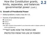 how the constitution grants limits separates and balances governmental power cont4