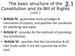 t he basic structure of the constitution and its bill of rights cont