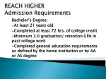 reach higher admission requirements