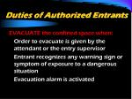 duties of authorized entrants1
