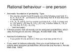 rational behaviour one person
