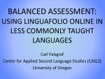 balanced assessment using linguafolio online in less commonly taught languages