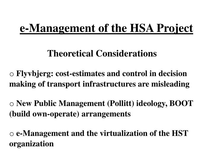 E management of the hsa project2
