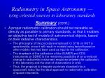 radiometry in space astronomy tying celestial sources to laboratory standards19