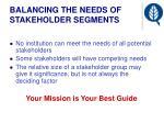 balancing the needs of stakeholder segments