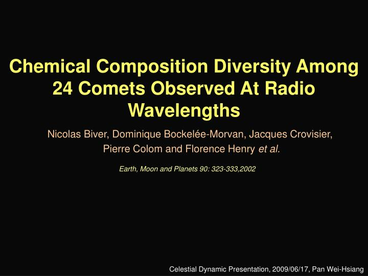 chemical composition diversity among 24 comets observed at radio wavelengths n.