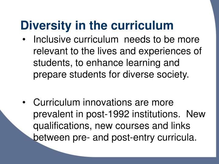 Diversity in the curriculum