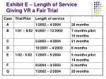 exhibit e length of service giving vr a fair trial
