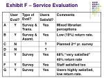 exhibit f service evaluation