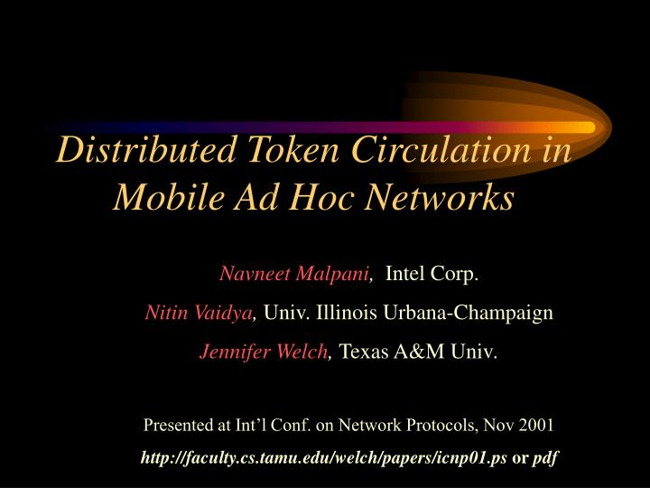 distributed token circulation in mobile ad hoc networks n.