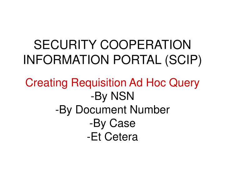 security cooperation information portal scip n.