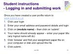 student instructions logging in and submitting work