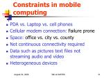 constraints in mobile computing