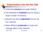 organization into ad hoc net