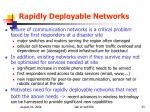 rapidly deployable networks