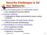 security challenges in ad hoc networks